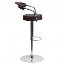 Flash Furniture CH-TC3-1060-BRN-GG Contemporary Brown Vinyl Adjustable Height Bar Stool with Arms addl-4