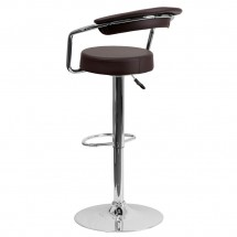 Flash Furniture CH-TC3-1060-BRN-GG Contemporary Brown Vinyl Adjustable Height Bar Stool with Arms addl-1