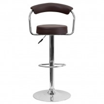 Flash Furniture CH-TC3-1060-BRN-GG Contemporary Brown Vinyl Adjustable Height Bar Stool with Arms addl-2