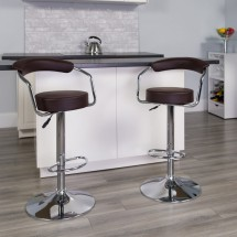 Flash Furniture CH-TC3-1060-BRN-GG Contemporary Brown Vinyl Adjustable Height Bar Stool with Arms addl-3