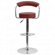 Flash Furniture CH-TC3-1060-BURG-GG Contemporary Burgundy Vinyl Adjustable Height Bar Stool with Arms addl-2