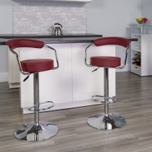 Flash Furniture CH-TC3-1060-BURG-GG Contemporary Burgundy Vinyl Adjustable Height Bar Stool with Arms addl-3