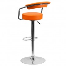 Flash Furniture CH-TC3-1060-ORG-GG Contemporary Orange Vinyl Adjustable Height Bar Stool with Arms addl-1