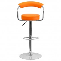 Flash Furniture CH-TC3-1060-ORG-GG Contemporary Orange Vinyl Adjustable Height Bar Stool with Arms addl-2