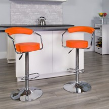 Flash Furniture CH-TC3-1060-ORG-GG Contemporary Orange Vinyl Adjustable Height Bar Stool with Arms addl-3