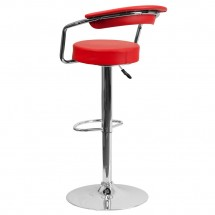 Flash Furniture CH-TC3-1060-RED-GG Contemporary Red Vinyl Adjustable Height Bar Stool with Arms addl-1