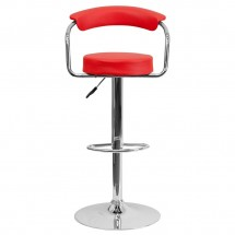 Flash Furniture CH-TC3-1060-RED-GG Contemporary Red Vinyl Adjustable Height Bar Stool with Arms addl-2