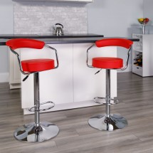 Flash Furniture CH-TC3-1060-RED-GG Contemporary Red Vinyl Adjustable Height Bar Stool with Arms addl-3
