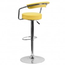 Flash Furniture CH-TC3-1060-YEL-GG Contemporary Yellow Vinyl Adjustable Height Bar Stool with Arms addl-1