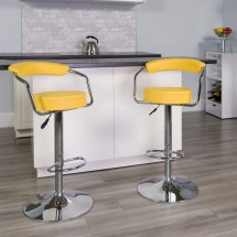 Flash Furniture CH-TC3-1060-YEL-GG Contemporary Yellow Vinyl Adjustable Height Bar Stool with Arms addl-3