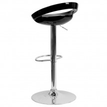Flash Furniture CH-TC3-1062-BK-GG Contemporary Black Plastic Adjustable Height Bar Stool addl-1