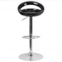 Flash Furniture CH-TC3-1062-BK-GG Contemporary Black Plastic Adjustable Height Bar Stool addl-2