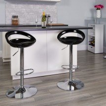 Flash Furniture CH-TC3-1062-BK-GG Contemporary Black Plastic Adjustable Height Bar Stool addl-3