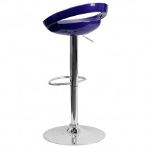 Flash Furniture CH-TC3-1062-BL-GG Contemporary Blue Plastic Adjustable Height Bar Stool addl-1