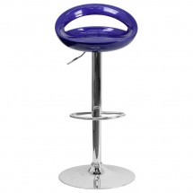 Flash Furniture CH-TC3-1062-BL-GG Contemporary Blue Plastic Adjustable Height Bar Stool addl-2