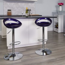 Flash Furniture CH-TC3-1062-BL-GG Contemporary Blue Plastic Adjustable Height Bar Stool addl-3