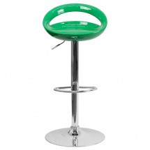 Flash Furniture CH-TC3-1062-GN-GG Contemporary Green Plastic Adjustable Height Bar Stool addl-2