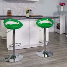 Flash Furniture CH-TC3-1062-GN-GG Contemporary Green Plastic Adjustable Height Bar Stool addl-3