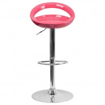 Flash Furniture CH-TC3-1062-PK-GG Contemporary Pink Plastic Adjustable Height Bar Stool addl-2