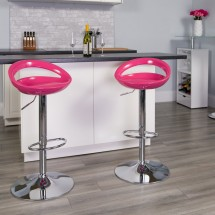 Flash Furniture CH-TC3-1062-PK-GG Contemporary Pink Plastic Adjustable Height Bar Stool addl-3