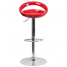 Flash Furniture CH-TC3-1062-RED-GG Contemporary Red Plastic Adjustable Height Bar Stool addl-2