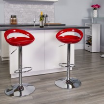Flash Furniture CH-TC3-1062-RED-GG Contemporary Red Plastic Adjustable Height Bar Stool addl-4