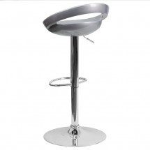 Flash Furniture CH-TC3-1062-SIL-GG Contemporary Silver Plastic Adjustable Height Bar Stool addl-1