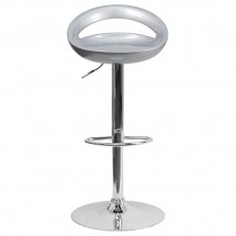 Flash Furniture CH-TC3-1062-SIL-GG Contemporary Silver Plastic Adjustable Height Bar Stool addl-2