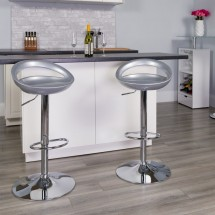 Flash Furniture CH-TC3-1062-SIL-GG Contemporary Silver Plastic Adjustable Height Bar Stool addl-3