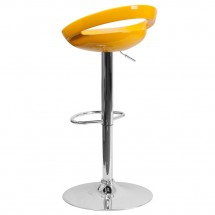 Flash Furniture CH-TC3-1062-YEL-GG Contemporary Yellow Plastic Adjustable Height Bar Stool addl-1