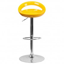 Flash Furniture CH-TC3-1062-YEL-GG Contemporary Yellow Plastic Adjustable Height Bar Stool addl-2