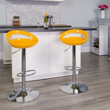 Flash Furniture CH-TC3-1062-YEL-GG Contemporary Yellow Plastic Adjustable Height Bar Stool addl-3