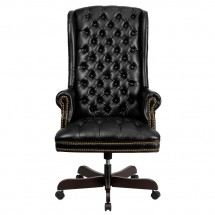 Flash Furniture CI-360-BK-GG Black High Back Traditional Tufted Leather Executive Office Chair addl-2