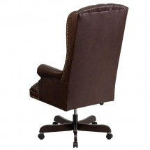 Flash Furniture CI-360-BRN-GG Brown High Back Traditional Tufted Leather Executive Office Chair addl-1