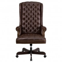Flash Furniture CI-360-BRN-GG Brown High Back Traditional Tufted Leather Executive Office Chair addl-2