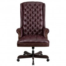 Flash Furniture CI-360-BY-GG Burgundy High Back Traditional Tufted Leather Executive Office Chair addl-2