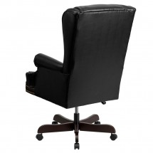 Flash Furniture CI-J600-BK-GG Black High Back Traditional Tufted Leather Executive Office Chair with Oversized Rolled Headrest addl-1