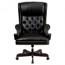 Flash Furniture CI-J600-BK-GG Black High Back Traditional Tufted Leather Executive Office Chair with Oversized Rolled Headrest addl-2