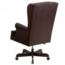 Flash Furniture CI-J600-BRN-GG High Back Traditional Tufted Brown Leather Executive Office Chair with Oversized Rolled Headrest addl-1