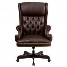 Flash Furniture CI-J600-BRN-GG High Back Traditional Tufted Brown Leather Executive Office Chair with Oversized Rolled Headrest addl-2