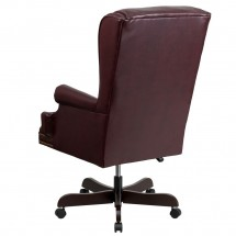 Flash Furniture CI-J600-BY-GG High Back Traditional Tufted Burgundy Leather Executive Office Chair with Oversized Rolled Headrest addl-1