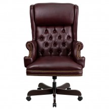 Flash Furniture CI-J600-BY-GG High Back Traditional Tufted Burgundy Leather Executive Office Chair with Oversized Rolled Headrest addl-2