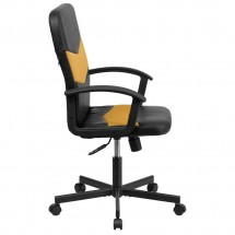 Flash Furniture CP-B301C01-BK-OR-GGMid-Back Black Vinyl and Orange Mesh Racing Executive Swivel Chair with Arms addl-4