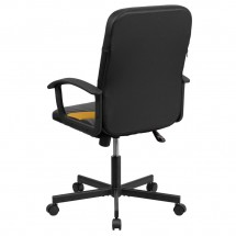 Flash Furniture CP-B301C01-BK-OR-GGMid-Back Black Vinyl and Orange Mesh Racing Executive Swivel Chair with Arms addl-1