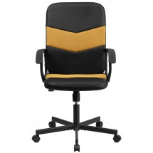 Flash Furniture CP-B301C01-BK-OR-GGMid-Back Black Vinyl and Orange Mesh Racing Executive Swivel Chair with Arms addl-2