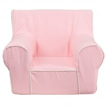 Flash Furniture DG-CH-KID-DOT-PK-GG Light Pink Dot Small Kids Chair with White Piping addl-1