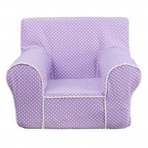 Flash Furniture DG-CH-KID-DOT-PUR-GG Lavender Dot Small Kids Chair with White Piping addl-1