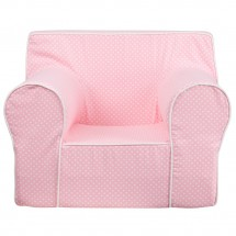 Flash Furniture DG-LGE-CH-KID-DOT-PK-GG Oversized Light Pink Dot Kids Chair with White Piping addl-3