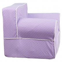 Flash Furniture DG-LGE-CH-KID-DOT-PUR-GG Oversized Lavender Dot Kids Chair with White Piping addl-1
