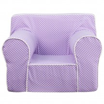 Flash Furniture DG-LGE-CH-KID-DOT-PUR-GG Oversized Lavender Dot Kids Chair with White Piping addl-3